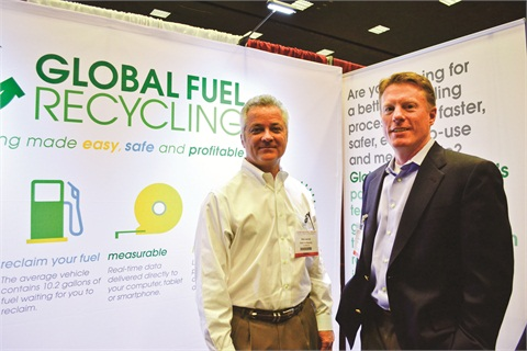 Photo by Joanne M. TuckerGlobal Fuel Recycling CEO Jerry McGuffin (right) and Vice President Dick Janicki at the 2012 Car Rental Show in Las Vegas.
