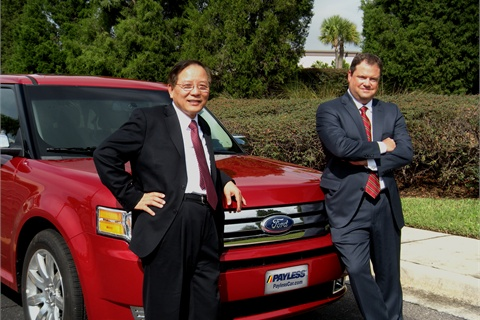 "Fred Lin, CEO (left) and Rick Stevens, president, have steered Payless Car Rental through acquisitions, overseas growth, airport expansion and into a ""preferred"" online presence."