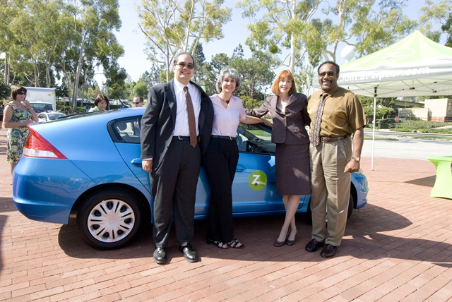 Photo by Victoria Sanchez In 2009, California State University, Long Beach officials welcomed the launch of Zipcar on campus, which now includes six vehicles. From left to right: Chris Chavez, student government president from 2009-2010; Mary Stephens, VP, administration and finance; Elissa Thomas, alternate transportation coordinator; and Doug Robinson, VP, student services.