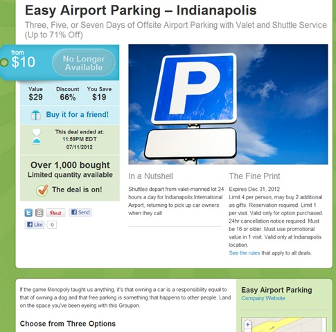 ACE Rent-A-Car's new parking brand, Easy Airport Parking, in Indiana and Illinois has done one Groupon deal so far. Kevin Stutz, Ace Reservations Systems business manager, says he wishes the company had done more of them sooner.