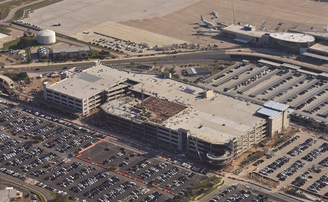 This aerial view shows the construction of the consolidated car rental facility at Austin-Bergstrom International Airport as of Jan. 15, 2015.