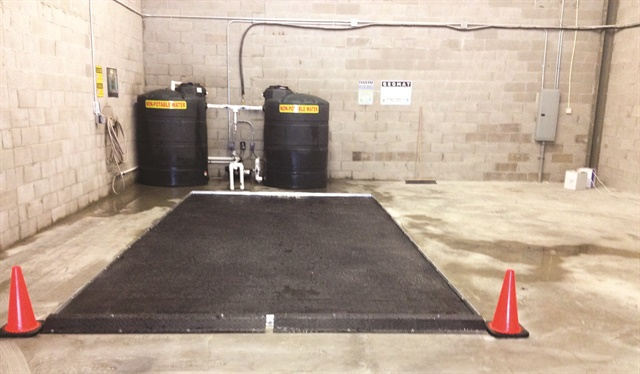 The Geomat system captures wastewater runoff, filters it, and then pumps it back into the system for reuse.