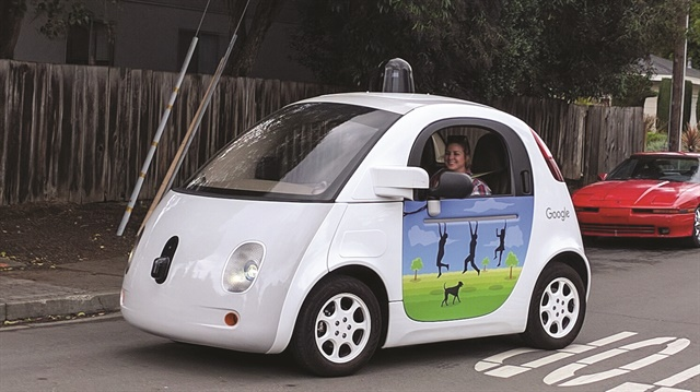 Google's self-driving car project is called Waymo. The Waymo vehicle conducted its first fully autonomous ride on public roads in Austin, Texas in 2015, using no steering wheels or pedals and in everyday traffic on city streets. The driverless vehicle has logged 3 million miles on public roads to date. Photo courtesy of Grendelkhan via Wikimedia Commons