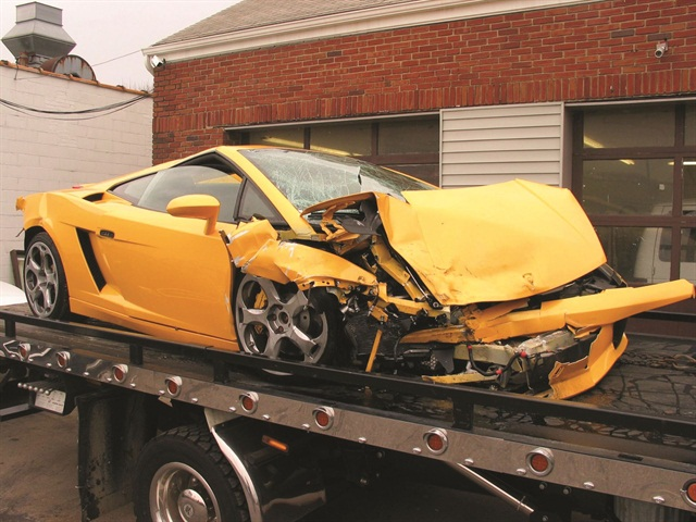 Crashed vehicles are a reality of any car rental business — particularly at the high end. This Lamborghini Gallardo, owned by Gotham Dream Cars, was wrecked on Christmas Day in 2004.