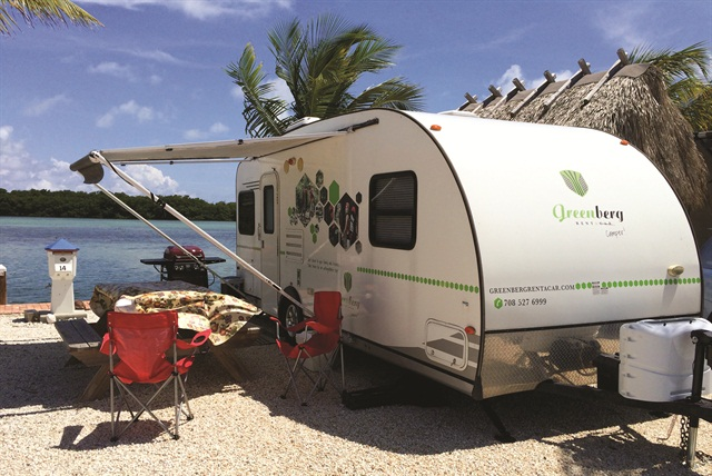 One of Greenberg's rental trailers at a campground in Orlando. Guests can rent extra amentities such as an outdoor table or barbecue.