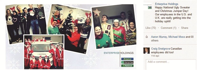 On Ugly Holiday Sweater Day, Enterprise shared images of employees wearing their ugly sweaters at branches around the world.
