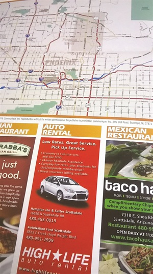 High Life Auto Rental put an advertisement in a local hotel's Phoenix map guide.