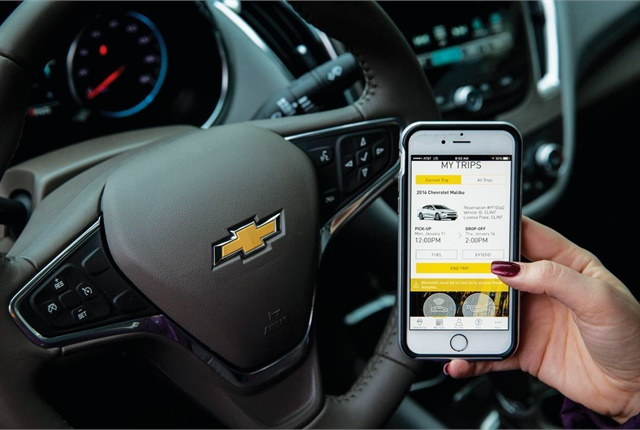 Maven users simply need to download the company's free mobile app to find, reserve, access, and pay for the use of vehicles. A fuel card in each vehicle can be used to refuel it without additional charge. Photo courtesy of GM.