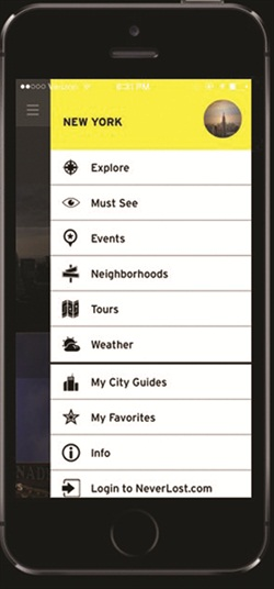 Hertz's NeverLost mobile app. Photo courtesy of The Hertz Corp.