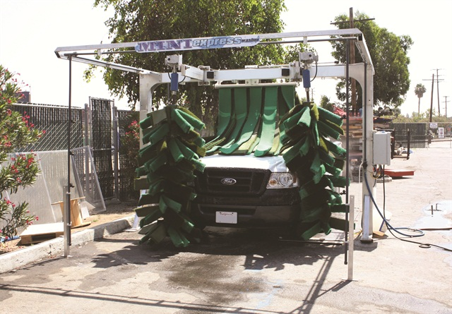 The mini express car wash system from NS Wash takes up less space and produces less water than a hand wash, according to the company.