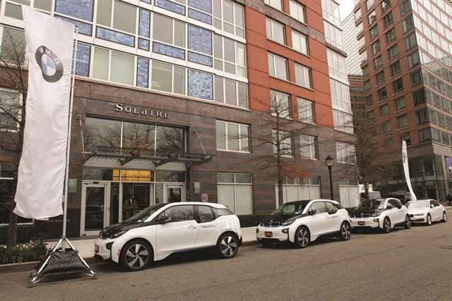 ReachNow, BMW Group's carsharing service, has served the 700 residents of the Solaire, a residential tower in Battery Park City, N.Y., since December 2016. BMW Group says it plans to expand the ReachNow program to residential and business complexes across the U.S. Photo courtesy of BMW Group.