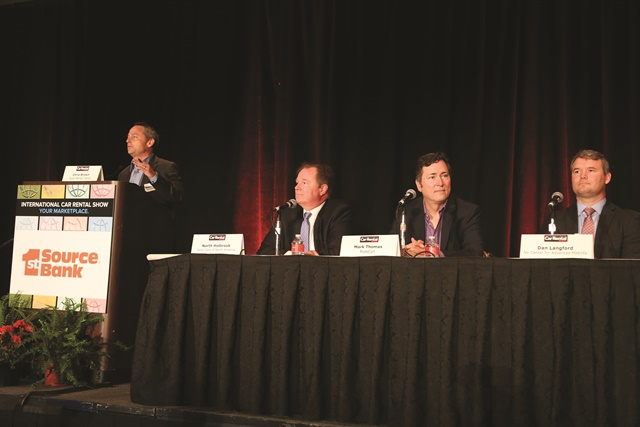 Chris Brown, executive editor of Auto Rental News, moderated the opening keynote panel on car rental and the future of mobility. The panelists included (l to r) North Holbrook of Volvo Cars of North America, Mark Thomas of RideCell, and Dan Longford of the Nevada Center for Advanced Mobility.