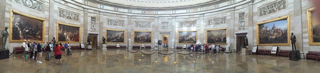 The famed Capitol rotunda was one stop on the meeting schedule. The rotunda had just reopened after renovations.