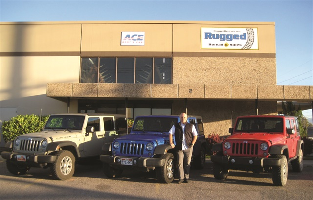 """Our vehicles appeal to renters who like the outdoors,"" says Chad Knavel, vice president and general manager of Rugged Rental. ""We also tend to get younger renters who can't afford to buy a vehicle like the Jeep Wrangler, so it makes sense for them to rent it."" Photo courtesy of Rugged Rental."