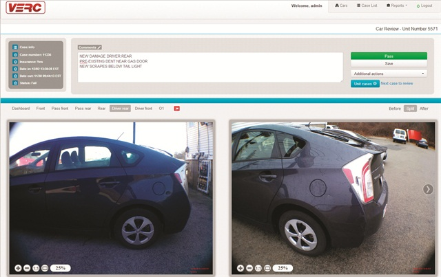 """Rental agents take photos of the car's exterior from six different angles. These photos are reviewed by the customer, who must give approval by pressing either """"Accept CDW"""" or """"Decline CDW."""" When the photos are uploaded, before and after photos are compared to identify new damage."""