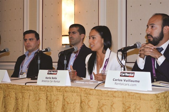 A panel during the Latin American Meeting (Juan Carlos Morga of Mex Rent-A-Car; Alejandro Muniz of Economy Rent A Car; Karla Solis of America Car Rental; and Carlos Vuillaume of Rentalcars.com) discussed ways to promote greater transparency to car rental clients traveling to Latin America.
