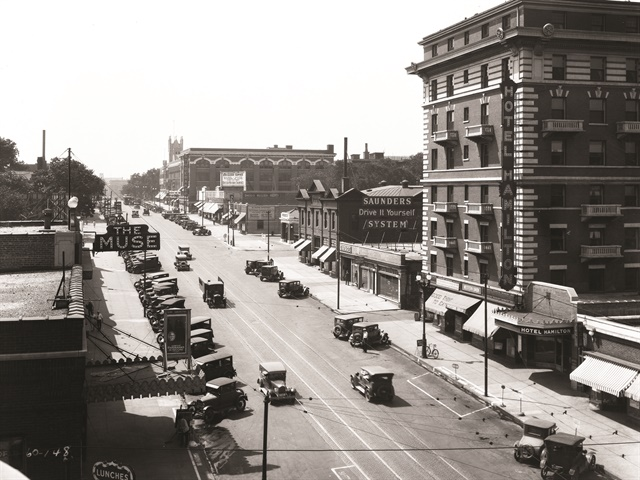 """Taken in 1928, this photo shows the Saunders """"Drive it Yourself"""" location on Farnam St. in Omaha. Photo courtesy of the Bostwick-Frohardt/KM3TV Photography Collection at The Durham Museum Photo Archive."""