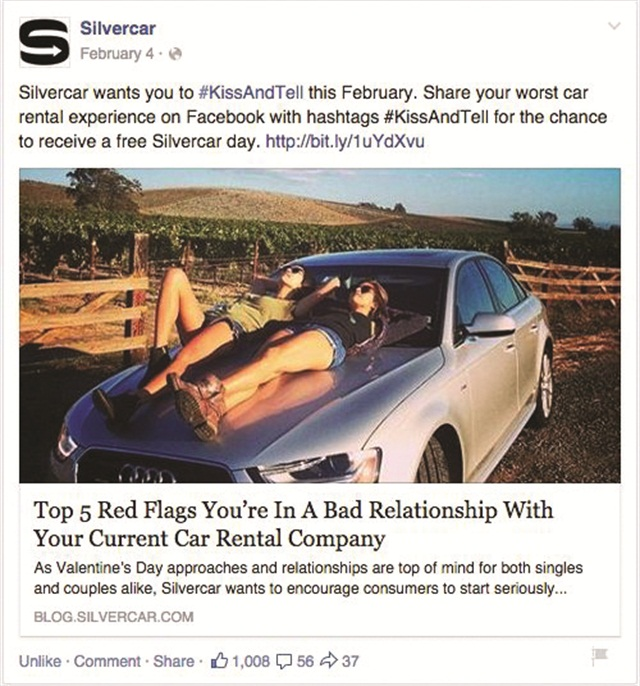 Silvercar uses photo contests to engage its social media users. In honor of Valentine's Day, Silvercar featured a #KissAndTell contest, where users were encouraged to post their worst car rental experiences.
