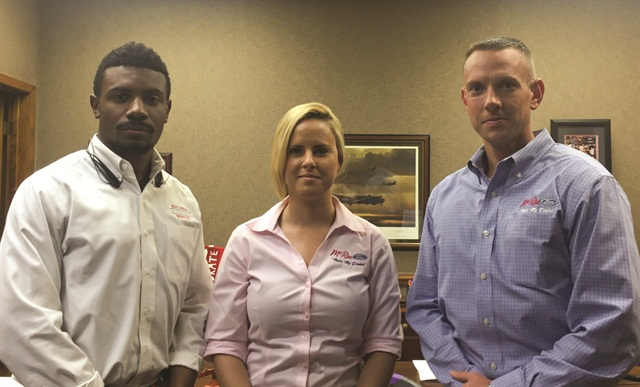 Tyler Koch, director of human resources at Dale Holdings Inc., parent company of Bay Area Auto and Truck Rental (right), poses with two other millennial staff members: Megan Burls, business process specialist (center), and Marcus Lindsey, commercial business development manager (left).