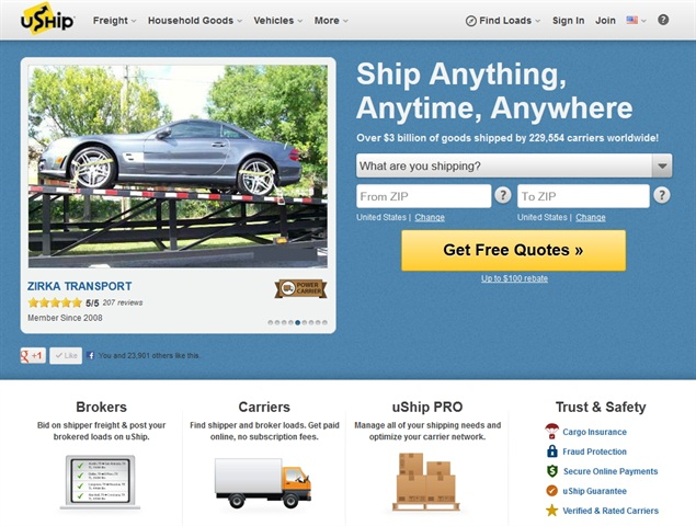 uShip.com is a load board that launched in 2004 and has 325,000 registered transporters.