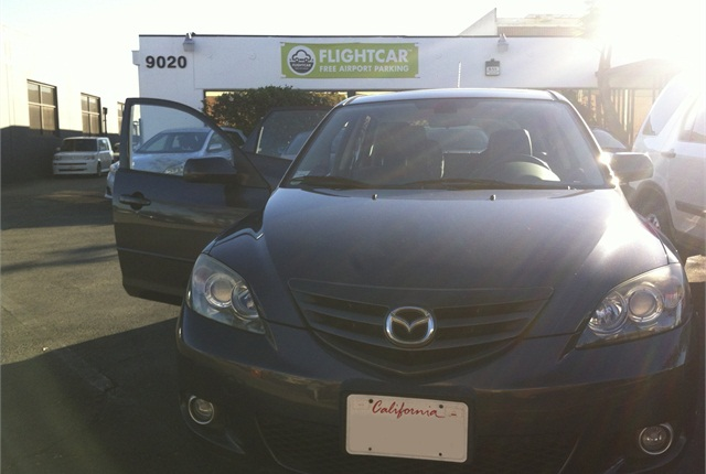My 2005 Mazda3 awaits my return on the FlightCar lot at LAX.