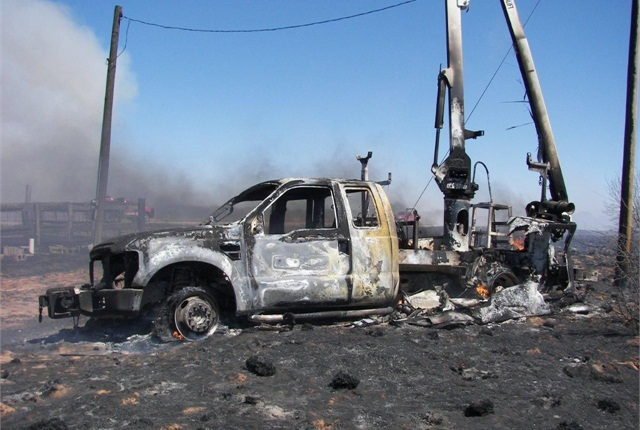"A lineman for a power company in Oklahoma was in the bucket of this truck when it caught fire. He used a key fob ""panic button"" to alert authorities to the emergency and evacuated safely."