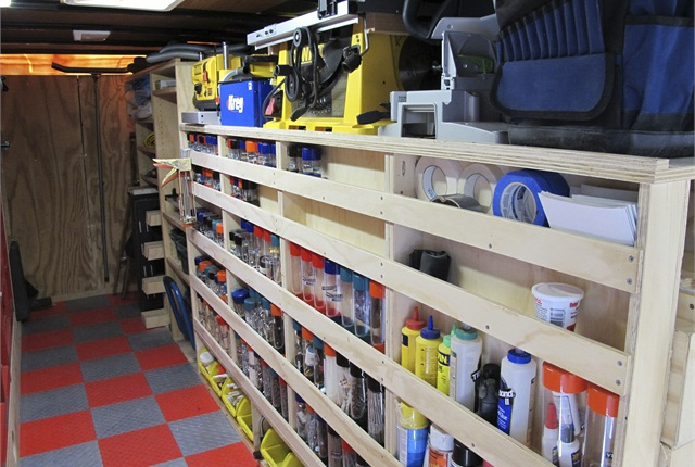 "The shelves are built for maximum visibility and accessibility of tools and equipment. With a 3/4"" inch lip shelf, ""No matter what bump I go over I've never had a tool fall out,"" Paulk says."
