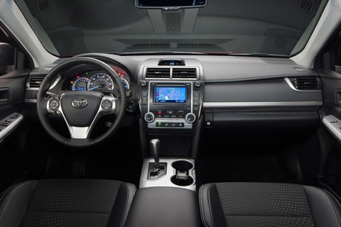 The interior of the 2012-MY Camry SE.