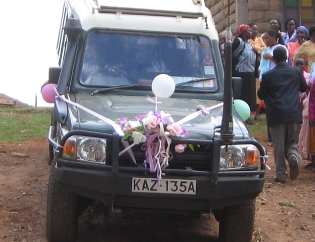 A rental vehicle from Active Car Hire in Nairobi, Kenya used in a wedding.