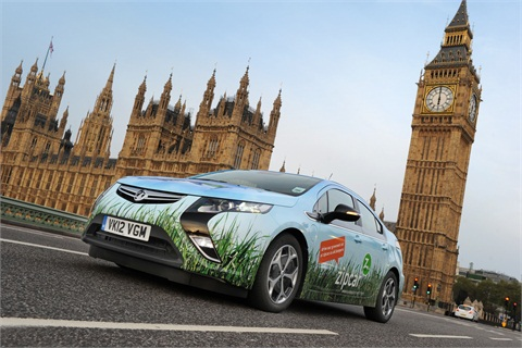 Vauxhall Motor's Ampera with a full-body vehicle wrap for the London Zipcar fleet.