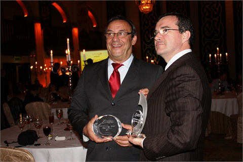 Gerard Maitre (left) CEO of Citer and Laurent Maurice, inbound leisure sales manager of Citer received an award at CarTrawler's 2011 Car Rental Awards at Dromoland Castle, in County Clare, Ireland on October 13.