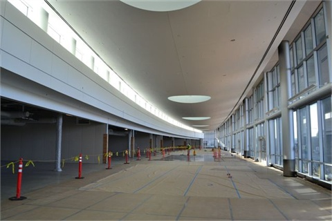 The interior of the customer service area, which includes a 25,000 sq.-foot lobby that will house all the rental car counters.