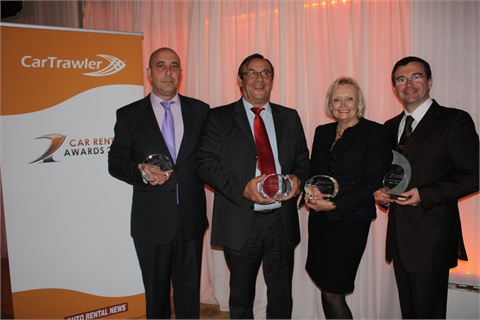 The winners of CarTrawler's 2011 Car Rental Awards: (from left) Francisco Lucena, director commercial of Niza Cars, Spain; Gerard Maitre, CEO, Alamo National Citer, France; Anne Leonard, channel director international, Europcar, South Africa and Laurent Maurice, inbound leisure sales manager, Alamo National Citer, France.