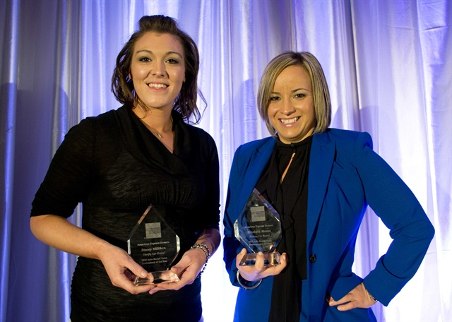Stacey Milliken (left) and Elizabeth Alonso (right) accept their awards for the 2012 Auto Rental News Professional of the Year. Not pictured is the corporate winner, Veronica Weston.