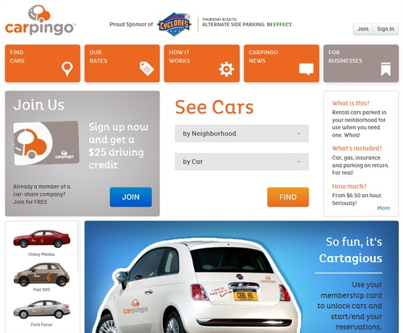 Screenshot of Carpingo.com taken Aug. 23, 2012.