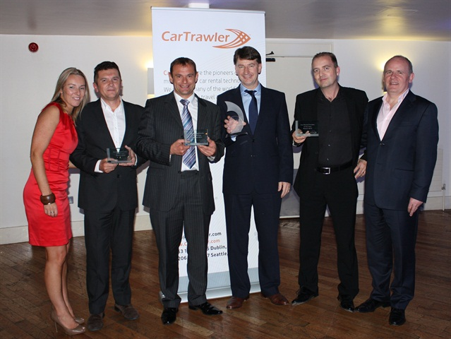 Photo courtesy of CarTrawler. From left to right: Caroline O'Keefe, supply manager, CarTrawler; Luigi Bagnoli, commercial director, Centauro; Roger Pink, sales manager, Dollar Thrifty Europe Ltd.; Tom Knopek, managing director, Dollar Thrifty Europe Ltd.; Richard Lowden, chairman, Green Motion Ltd.; Niall Turley, director of supply, CarTrawler.