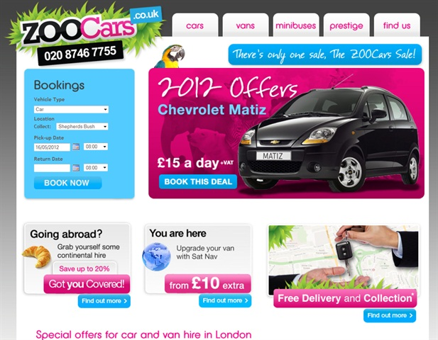 A screenshot of ZOOCars' website from May 15.