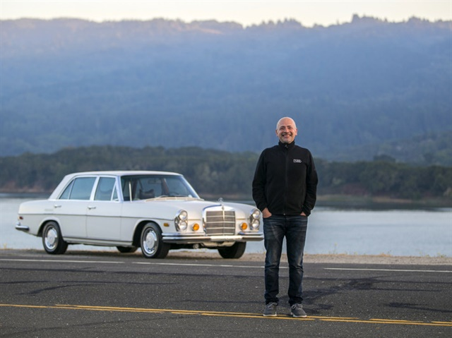 Turo CEO, Andre Haddad, with vintage Mercedes-Benz. Photo via Turo.