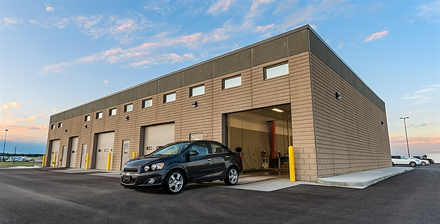 Bismarck Airport's new quick turn-around facility features an automatic car wash tunnel, wash bays, two fueling stations, and storage for rental vehicles. Photo courtesy of Conrac Solutions.