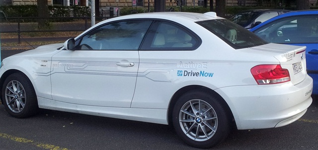 DriveNow's carsharing service is now available at London City Airport. Photo via Wikimedia/Matti Blume