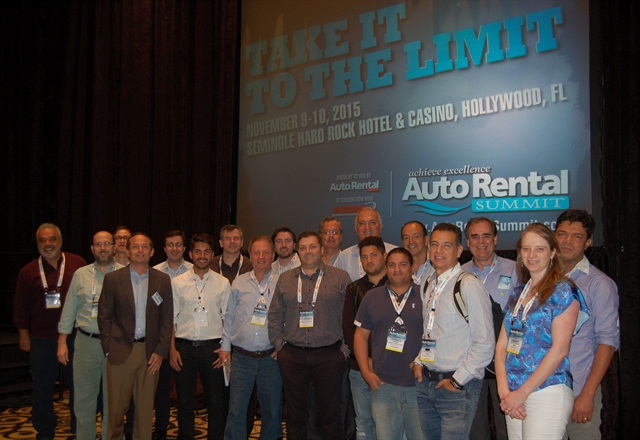 The delegation of 23 rental car executives from Brazil pictured with Chris Brown, executive editor of Auto Rental News. Photo by Amy Winter-Hercher.