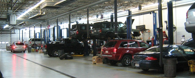 A car dealership's maintenance facility. Photo via Wikimedia.
