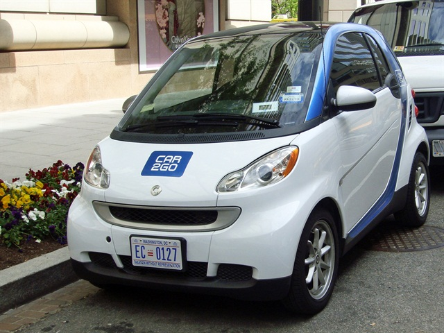 Car2go is an example of a U.S. car-sharing program. Photo courtesy of Wikipedia.