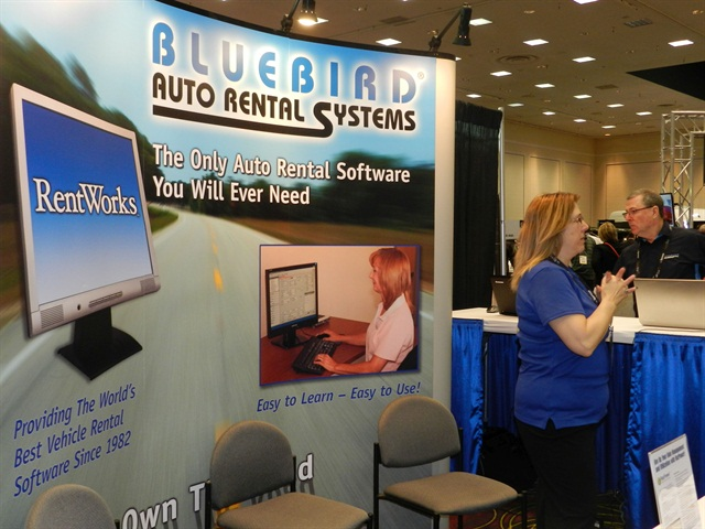 Bluebird's booth at this year's Car Rental Show. Photo by Amy Winter.