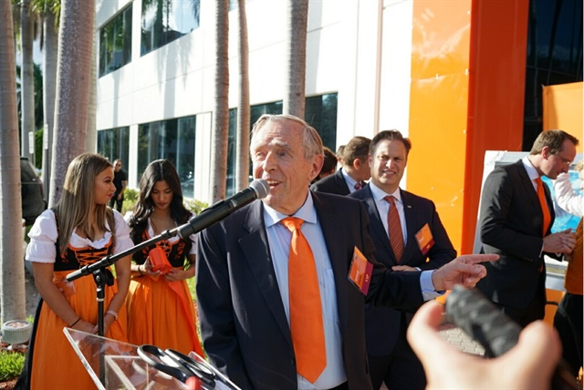 Erich Sixt, CEO of Sixt SE, spoke at the ribbon-cutting ceremony of Sixt's new North American headquarters in Fort Lauderdale. Photo courtesy of Sixt.