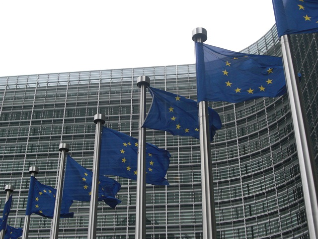 European Commission flags. Photo via Wikimedia.