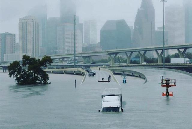 Houston's 69 freeway has been shut down. Photo courtesy of Airport Van Rental.