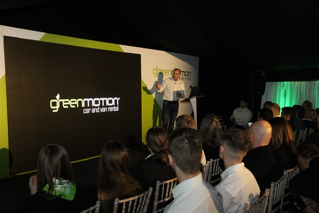 Richard Lowden, founder and CEO of Green Motion, gives a presentation at the company's 2017 international conference. Photo courtesy of Green Motion.