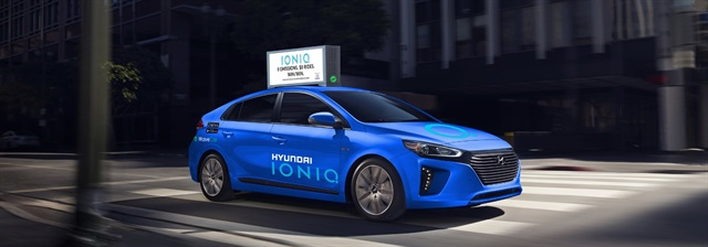 Hyundai's new IONIQ electric compact vehicle will be available through WaiveCar's electric carsharing service. Photo courtesy of Hyundai Motor America.