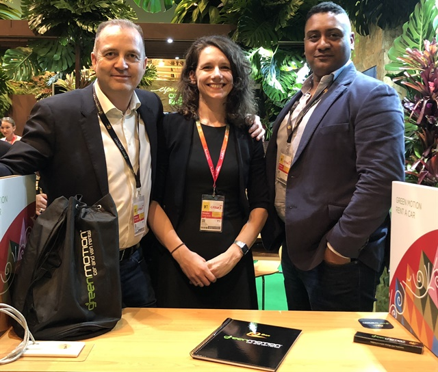 From left: Green Motion Founder and CEO Richard Lowden, Franchise Sales Executive Tanja Zolin, and Senior Director of Global Partner Management Nick Ravagnan. Photo courtesy of Green Motion